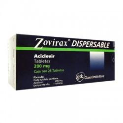Acyclovir Zovirax soluble dispersable 200 mg 25 tabs
